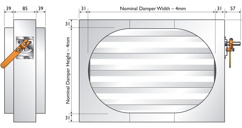 Flat Oval Spigotfit Dimensions